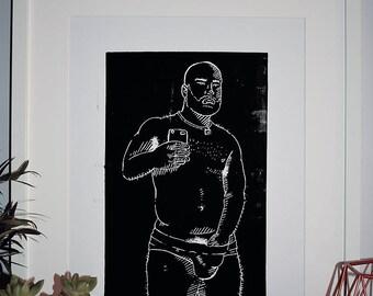 Cub - A3 Lino Print