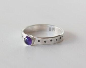 Third Eye Chakra Ring, Amethyst Stacking ring, Amethyst, February birthstone, Hidden message ring, third eye chakra, yoga ring, RTS CRS-THI