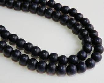 Navy Blue wood beads round 10mm full strand eco-friendly Cheesewood 1595NB