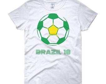 Brazil T-Shirt   Brazil Soccer Tee   Women's short sleeve t-shirt