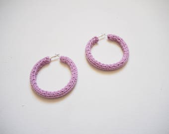 Lilac Knitted Hoops 6cm