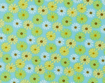 By The HALF YARD - Roots and Wings by Deena Rutter for Riley Blake, Pattern #C4152 Blue Roots Daisy, Yellow Green and Light Blue Flowers