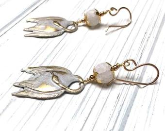 Swan Charm Earrings. Long Drop Earrings. Water Bird. Dangle Earrings. White. Gold. Bronze Ear Wires. Handmade Jewelry. 48mm. One Pair.