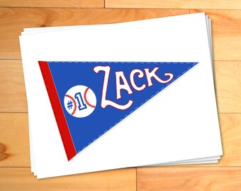 Kids Notecards,Sports,Kids Thank you Cards,Personalized Notecards,Pennant,Childrens Thank You Notes,Baseball,Football,Basketball,Set of 12