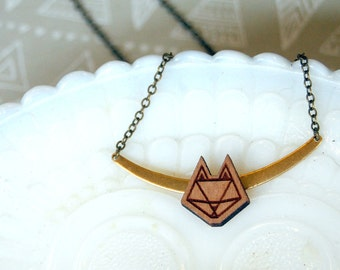 modern geometric cat head with vintage brass accent - cat lady style