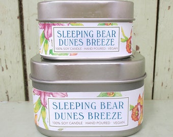 Sleeping Bear Dunes Breeze Soy Candle 4 oz. - Green Daffodil  -  Handpoured - Anne and Siouxsan -C4