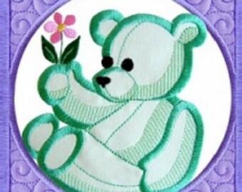 Machine Embroidery Design Baby Quilt Block Bear
