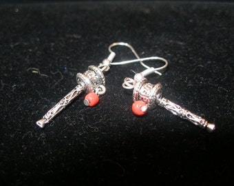 Tibetan Buddhist Prayer Wheel Earrings--your choice of backs--etsyBead, BuddhistTeam, olyteam, WWWG