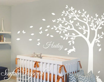 Nice Nursery Wall Decals White Tree Wall Decal, Large Tree Decal For Nursery  With Personalized Name