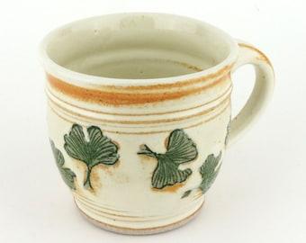Stoneware Mug - 14 oz. Mug - Coffee Cup - Latte Mug - Tea Cup - Creamy White Mug with Ginkgo Leaf design