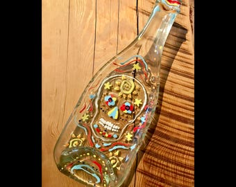 Skull Melted Wine Bottle Glass Serving Dish Platter, Decorative Day of the Dead