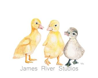 Duck Art Duck Painting Duck Art Print. Duck Watercolor Painting Duck Nursery Art Yellow Duck Decor Bird Nursery Art Bird Nursery Print Art.