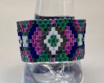 beaded ring multi coloured patterned beaded ring large ring peyote ring