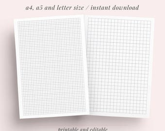 Graph Grid Paper Student Note Taking Printable Set | A4, A5 and Letter | Study, Discbound Notes, Notebook | Instant Download