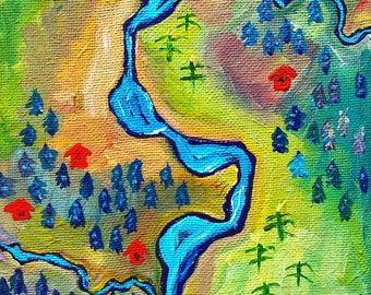 Little River | Whimsical Map Painting | Poudre River | Abstract | Small Painting