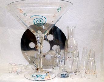 Hand Painted Chiller Shot Martini Set, Oversized, Vodka, Tequila, 10 piece set