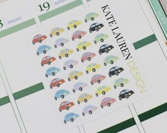 Cute Car Roadtrip Planner Stickers for Erin Condren Life Planner, Happy Planner, Filofax, kikki.K, Plum Paper Planner Stickers