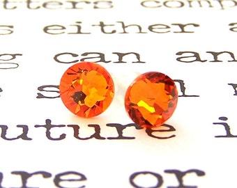 Tangerine Swarovski crystal stud earrings, 7mm bright orange Swarovski studs, tangerine flat back, citrus orange posts