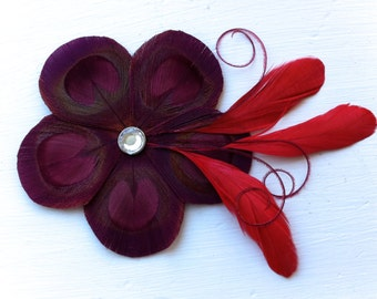 GINA Red Wine Burgundy and Red Peacock Feather Flower Hair Clip, Fascinator