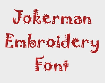 """Jokerman Embroidery Font in Multiple formats, 1/2"""", 1"""", 2"""" & 3"""" (Upper case + numbers) - INSTANT DOWNLOAD - Item #1121"""