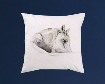 White Horse Pillow cover - Art throw pillow - Watercolor painting - Special art design - Gift idea