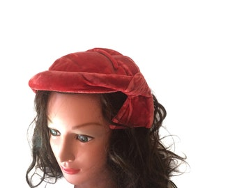 Vintage 40s Hat Velvet Hat Women Pink Hat Women 1940s Hat Women Mini Hat Fascinator Hat Millinery Hat Women Accessories