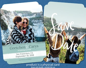 Printed Photo Save the Date Cards, Editable Text, Handlettering, Premium Cover Stock, Envelopes Included, Save the Date Cards, Wedding Cards