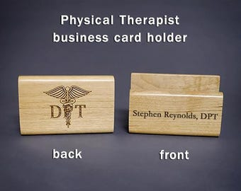 Doctor of Physical Therapy DPT Personalized Wood Business Card Holder Physical Therapist Gift