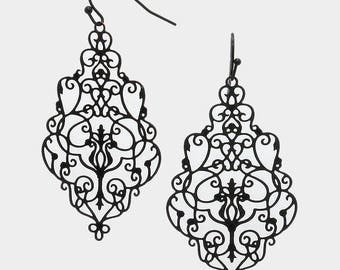 Black Victorian Gothic Filigree Patterned Earrings