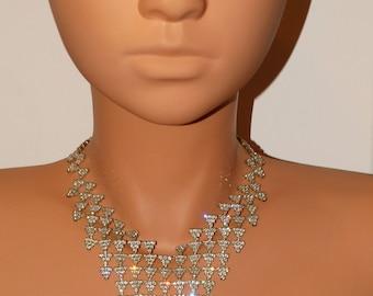 1980's V Shape Rhinestone Necklace.