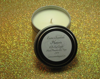 Plumeria Soy Candle Tin/6 Oz/Floral Scented Candle/Hand Poured Candle/Scented Soy Candle/Eco Friendly