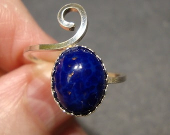 Lapis ring Adjustable -choose sizes 3 to 15- 10x8mm  solid silver (925 sterling silver)  Made in USA by me - HOLIDAY SALE- solitaire or midi