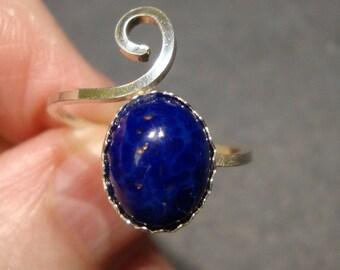 Lapis ring einstellbar - wählen Sie Größen 3 bis 15 - 10x8mm massivem Silber (925 Sterling Silber) aus USA von mir - Urlaub Verkauf-Solitär oder Midi