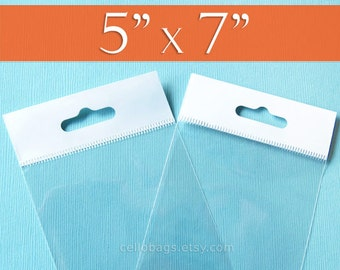 """300 5 x 7"""" Inch HANG TOP Clear Resealable Cello Bags Packaging for Hanging on Display or Peg"""