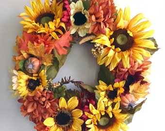 Sunflower Wreath//Fall Wreath//Autumn Wreath//Sunflower Decor//Fall Decor//Pumpkin Wreath//Yellow and Orange Wreath//Front Door Wreath//