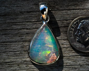 Ethiopian Opal Pendant big flash Blue, Green, Red, Orange Yellow Flashes October Birthstone Natural Opal Opal Necklace - Opal Necklace Opal