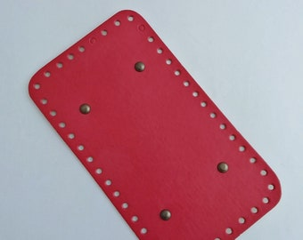 Bag faux leather, poppy red background. REF E.204. Drilled special trapilho