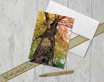 My Faith Looks Up to Thee, Digital tree carving, Greeting Card, Fall/Autumn, Colored Leaves, Classic Hymn, Encouragement Under 5 dollars