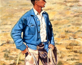 American Western Plains Cowboy with Lariat, cowboy hat, Denim Jacket , Oil Painting