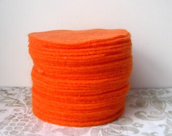 "50 pcs, 1.5""  Orange Felt Circle"