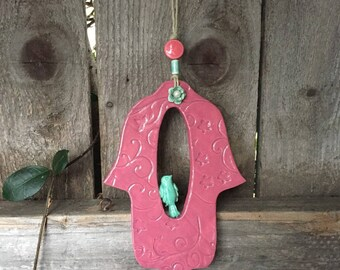 Hamsa,Ceramic Hamsa Hand, Ceramic Hamsa, Wall Hamsa, Wall decor ornament, Handmade Hamsa , Hamsa Wall Hanging ,housewarming gift ,Luck חמסה