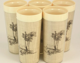 5 Mid Century N.F.C. Brand Tan & Burlap Plastic Drinking Glasses Made In USA