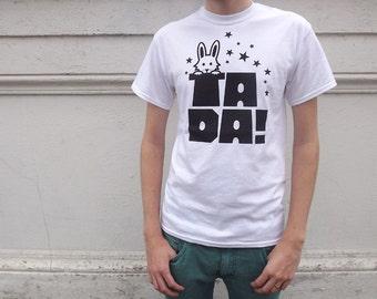 TADA Unisex T-shirt, screenprinted tee, white t-shirt black design, magic t-shirt, funny tee, rabbit t-shirt, typography tshirt, hello DODO