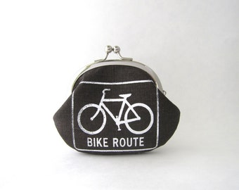 Frame Coin Purse - Bike Route in Brown