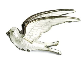 Vintage Hroar Prydz, dove bird brooch pin. White enamel, guilloche, Sterling. Signed
