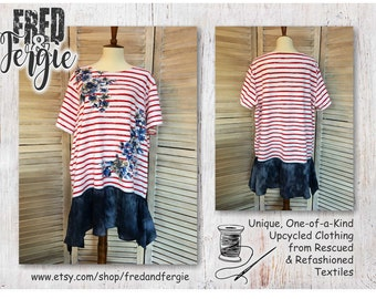 Upcycled Plus Size Tunic Top 2X to 3X Summer Lagenlook Red White & Blue Patriotic, Refashioned, Restyled, Altered, Eco-Friendly, Sustainable