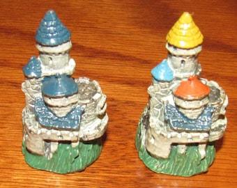 2 Different Vintage Painted Pewter Castle Thimbles