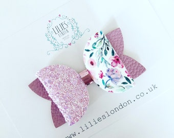 Floral and lilac Hair Bow