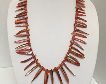 Mother of Pearl and Carnelian Talon Necklace