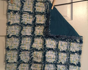 ILOVEMOMMY - ILOVEDADDY Rag Quilt Security Blanket - Mini - Blue
